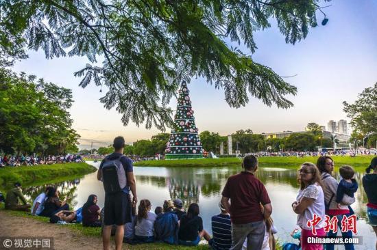 资料图片:巴西圣保罗,为迎接圣诞节,伊比拉布尔拉公园修建高43米圣诞树。图片来源:视觉中国