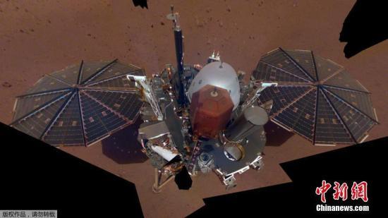 """資料圖:美國國家航空航天局公布首張""""洞察號""""探測器的火星自拍全身照。"""