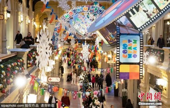 圣诞节将至,俄罗斯莫斯科街头洋溢着满满的节日气氛。图片来源:Sipaphoto 版权作品 禁止转载