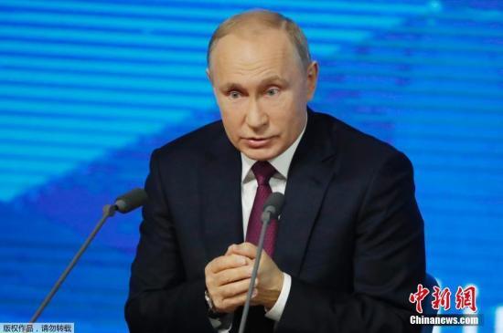 当地时间12月20日,俄罗斯莫斯科,俄罗斯总统普京出席年度新闻发布会。