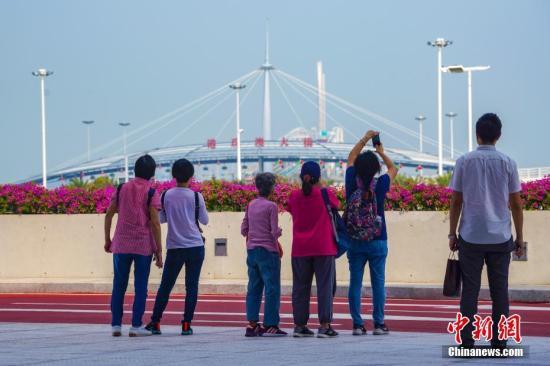 资料图:2018年10月24日下午,刚刚抵达大桥珠海公路口岸的香港旅客,眺望港珠澳大桥。 中新社记者 张炜 摄