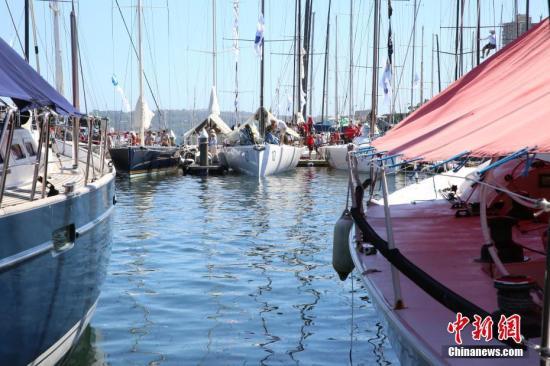 """12月26日,世界三大经典离岸帆船大赛之一的悉尼霍巴特帆船赛在悉尼起航。这项被誉为""""勇敢者游戏""""的世界级航海赛事,今年吸引了来自中国内地和香港的3支船队参加。图为参赛帆船整装待发。<a target='_blank' href='http://www-chinanews-com.longganglawyer.com/'>中新社</a>记者 陶社兰 摄"""