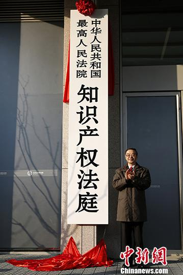 资料图:1月1日,中国最高人民法院知识产权法庭在北京揭牌成立。中新社记者 李慧思 摄