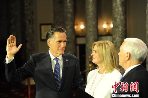 资料图:共和党参议员米特·罗姆尼(Mitt Romney)。/p中新社记者 陈孟统 摄