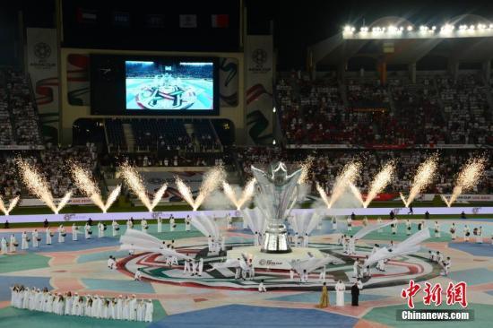 1月5日晚,第17届亚洲杯在阿联酋首都阿布扎比扎耶德体育城体育场开幕。邢� 摄
