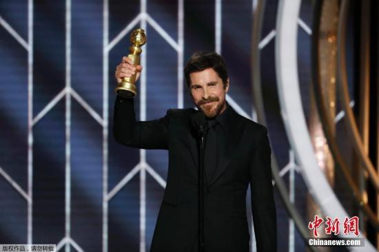 第76届美国电影电视金球奖颁奖礼在洛杉矶举行。金球奖音乐喜剧类电影最佳男主角克里斯蒂安·贝尔(《副总统》) 。