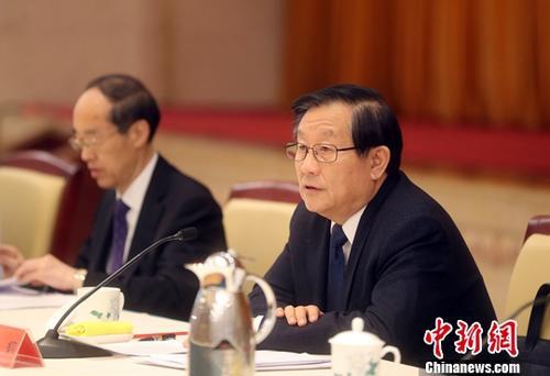 1月15日,统一战线学习贯彻习近平总书记在《告台湾同胞书》发表40周年纪念会上的重要讲话精神座谈会在北京召开,致公党中央主席万钢出席座谈会并发言。中新社记者 张宇 摄