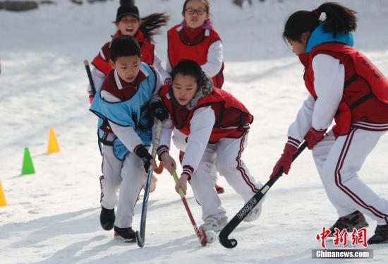 资料图:小学生体验冰雪运动。中新社记者 杜洋 摄