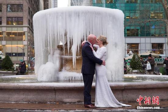 资料图:纽约布莱恩公园,一对新人拍摄婚纱照片。<a target='_blank' href='http://212smoke.com/'>中新社</a>记者 廖攀 摄