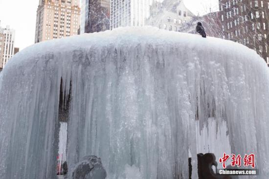 当地时间1月22日,纽约布莱恩公园的喷泉因几日来持续低温而结冰变成冰瀑,一只鸽子停歇在冰瀑上。当日,纽约最低气温-9℃。<a target='_blank' href='http://www.chinanews.com/'>中新社</a>记者 廖攀 摄