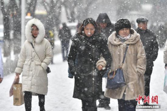 2月1日,新疆乌鲁木齐市迎来降雪天气。图为民众在纷纷扬扬的雪中出行。<a target='_blank' href='http://www.chinanews.com/'>中新社</a>记者 刘新 摄
