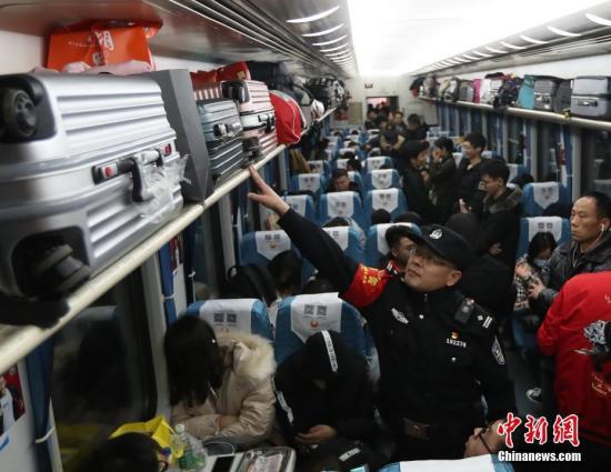资料图:乘警在列车上进行安全检查。中新社记者 张畅 摄