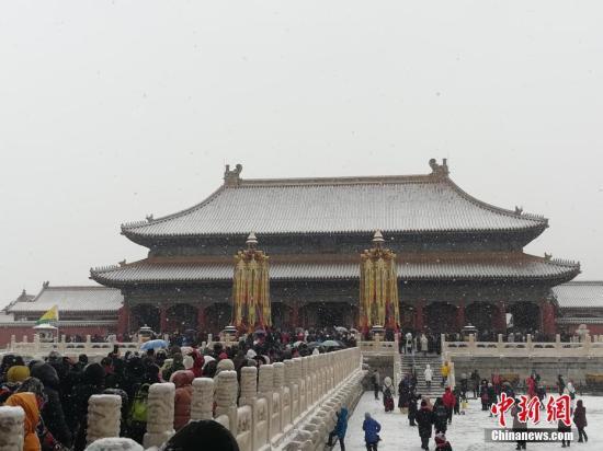 雪中紫禁城的美景。<a target='_blank' href='http://www.chinanews.com/' >中新网</a>记者 上官云 摄