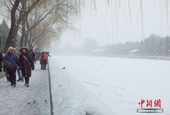 众多游客到故宫打卡赏雪。泰茫 摄