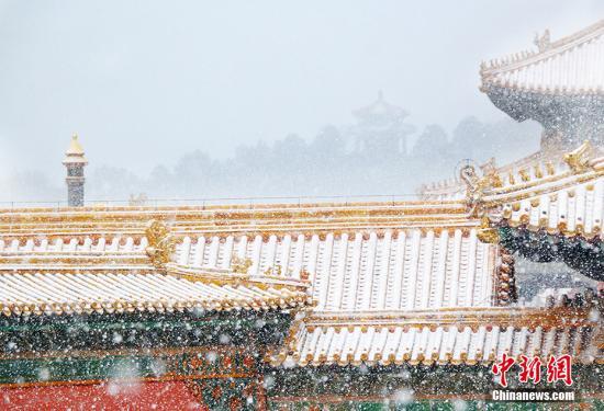 2月14日,北京的天空,纷纷扬扬地飘起了雪花。中新网记者 翟璐 摄
