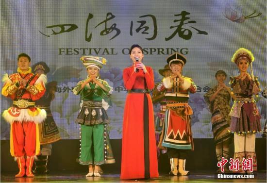 """当地时间2月21日,继泗水站后,2019年""""四海同春""""亚洲团棉兰场演出成功举行。至此,该团在""""千岛之国""""印尼的访问演出圆满落下帷幕。图为晚会现场,主持人携舞蹈演员向印尼华侨华人致以节日问候。<a target='_blank' href='http://bharatcinema.com/'>中新社</a>记者 周欣嫒 摄"""