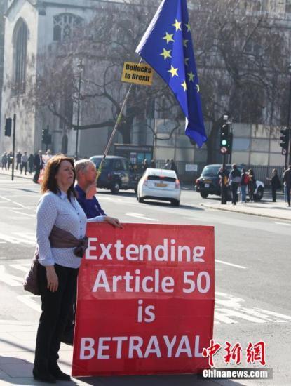 """当地时间2月27日,英国""""脱欧""""日期(3月29日)迫近,""""脱欧""""前景仍扑朔迷离。英国民众走上街头,宣示各自不同的主张。图为主张""""脱欧""""的护牌者与主张""""留欧""""的扛旗者一同站在伦敦市中心街头。中新社记者 张平 摄"""