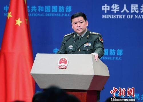 2月28日,中国国防部新闻发言人任国强在例行新闻发布会上答记者问。中新社记者 宋吉河 摄