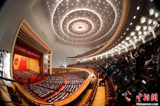 3月5日,十三届全国人大二次会议开幕会在北京人民大会堂举行。中新社记者 杜洋 摄