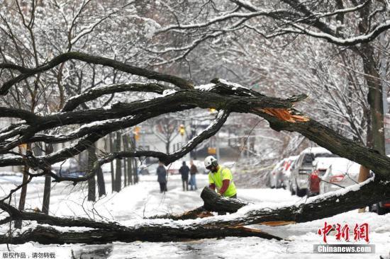 资料图:美国纽约遭遇暴风雪。