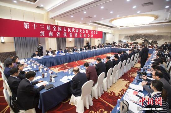 3月6日,十三届全国人大二次会议河南省代表团举行全体会议。中新社记者 王骏 摄