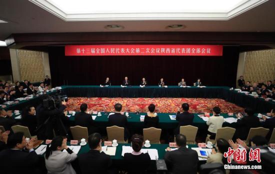 3月7日,十三届全国人大二次会议陕西省代表团举行全体会议,审查政府计划报告和预算报告,并对中外媒体开放。中新社记者 杜洋 摄