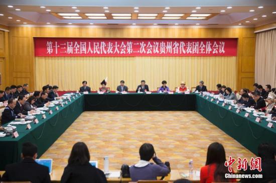 3月7日,十三届全国人大二次会议贵州省代表团举行全体会议,审查政府计划报告和预算报告,并对中外媒体开放。中新社记者 王骏 摄