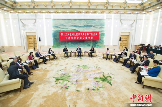 3月9日,十三届全国人大二次会议台湾省代表团举行全体会议,审议全国人大常委会工作报告,并对媒体开放。中新社记者 王骏 摄