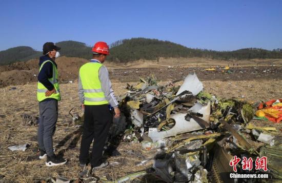 埃塞俄比亚航空公司失事航班ET302救援工作11日进入第二天。11日,埃航官方宣布,失事客机的两个黑匣子均已找到,接下来他们将就事故原因展开调查。图为参与救援的中国工作人员检查现场挖掘出来的物品。中新社记者 王曦 摄