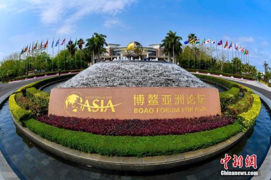 3月24日,博鳌亚洲论坛永久会址前的喷泉广场。中新社记者 骆云飞 摄