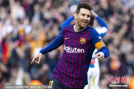 梅西在本场比赛登场,完成赛季首秀。(资料图:图为梅西进球后庆祝。图片来源:Osports全体育图片社)