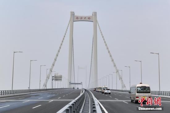 材料图:南沙大桥。中新社记者 陈骥旻 摄