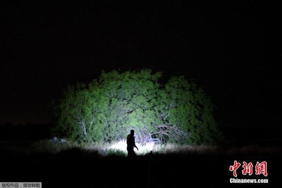 当地时间4月6日,美国德克萨斯州帕尔姆维尤,边境巡逻人员正在搜寻非法入境的移民。