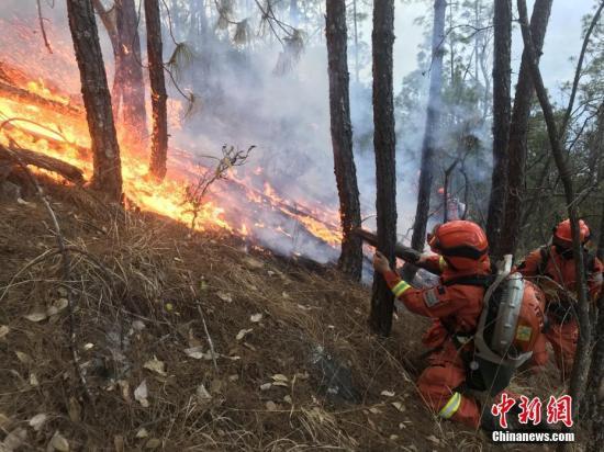 图为消防队员火场火场扑火。 丁庚 摄