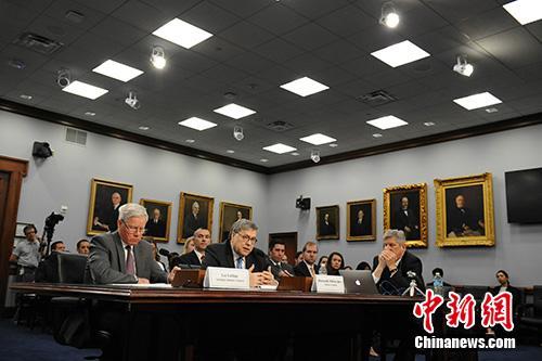 """当地时间4月9日,美国司法部长巴尔在国会众议院出席关于该部新财年预算的听证会时说,删节后的""""通俄门""""报告将于一周内发布。<a target='_blank' href='http://www.chinanews.com/'>中新社</a>记者 陈孟统 摄"""