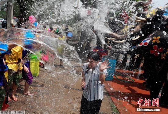資料圖:當地時間2019年4月11日,泰國大城府,當地慶祝佛教新年宋干節,狂歡者和大象互相潑水。