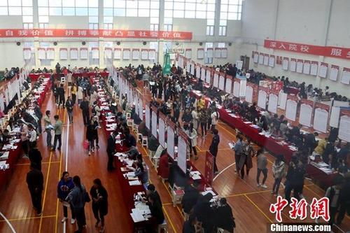大学生在招聘会现场寻找工作岗位。(资料图片)/p中新社记者 马铭言 摄