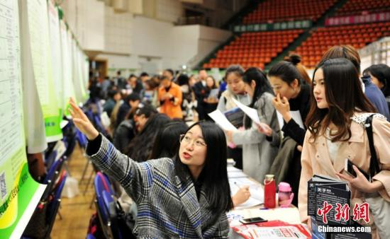 资料图:某大学举行就业双选会。<a target='_blank' href='http://www.chinanews.com/'>中新社</a>记者 于海洋 摄