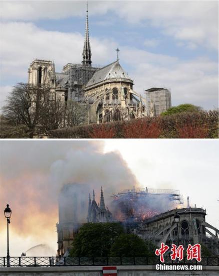 """当地时间4月15日,法国巴黎圣母院遭遇大火,浓烟弥漫整个巴黎上空。在大火中,大教堂著名的尖塔坠落,内部损伤严重。据悉,直到当地时间16日凌晨,大火终于受到控制。法国总统马克龙宣布,将重建巴黎圣母院。一组图片,带你直观感受,为什么这场火灾被马克龙称为""""法国的一部分付诸一炬。""""图为大教堂外景前后对比画面。"""