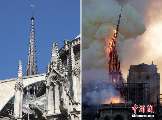 """当地时间4月15日,法国巴黎圣母院遭遇大火,浓?#22530;?#28459;整个巴黎上空。在大火中,大教堂著名的尖塔坠落,内部损?#25628;?#37325;。据悉,直到当地时间16日凌晨,大火终于受到控制。法国总统马克龙宣布,将重建巴黎圣母院。一组图片,带你直观感受,为什么这场火灾被马克龙称为""""法国的一部分付诸一炬。""""图为大教堂标志性尖塔在大火中被烧毁。"""