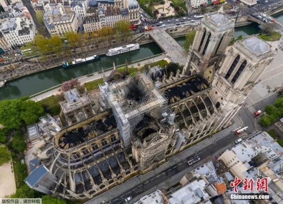 资料图:俯拍火灾后的巴黎圣母院