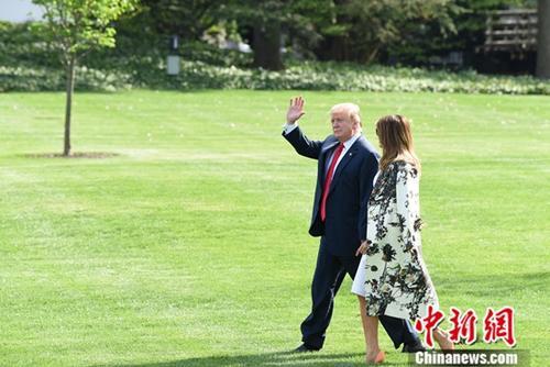 材料图:好国总统特朗普取第一妇人梅推娅。a target='_blank' href='http://www.chinanews.com/'种孤社/a记者 陈孟统 摄