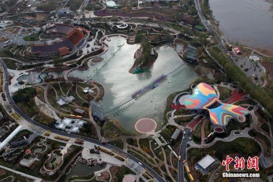 无人机拍摄的北京世园会园区。中新社记者 侯宇 摄