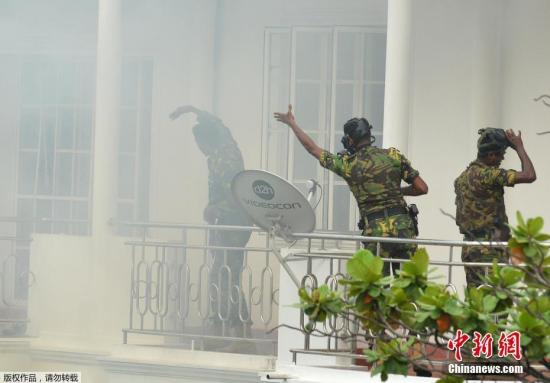 资料图为斯里兰卡特别行动组(STF)以抓嫌疑人时有爆裂。