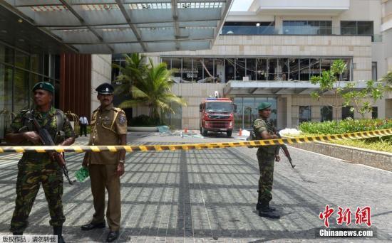图为斯里兰卡首都科伦坡发生爆炸的酒店已被封锁。
