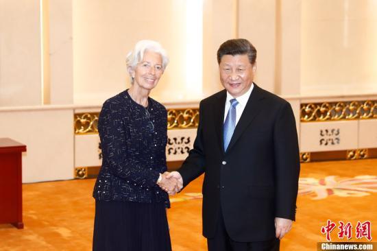 4月24日,中國國家主席習近平在北京人民大會堂會見國際貨幣基金組織總裁拉加德。<a target='_blank' href='http://www.dbisr.tw/'>中新社</a>記者 盛佳鵬 攝
