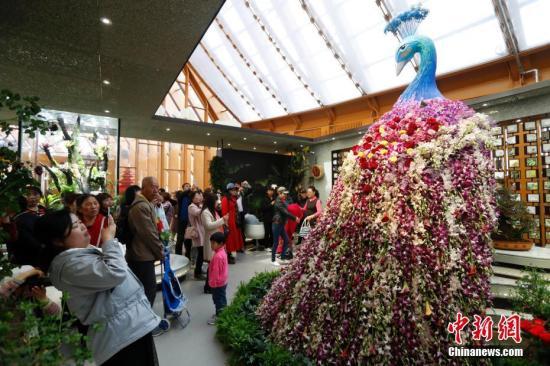 4月29日,2019年中国北京世界园艺博览会(简称北京世园会)开园,正式对公众开放。图为市民在中国馆内拍照留念。<a target='_blank' href='http://www.chinanews.com/'>中新社</a>记者 韩海丹 摄