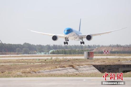 图厦门航空公司波音B787-9飞机下降。 平易近航拘些图