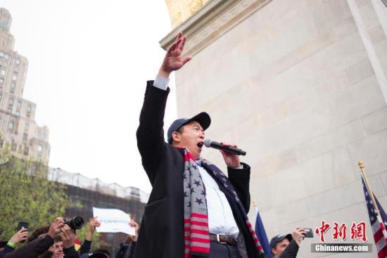 资料图:美国民主党2020年总统参选人杨安泽(Andrew Yang)。<a target='_blank' href='http://www.chinanews.com/'>中新社</a>记者 廖攀 摄