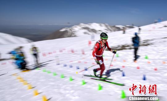 图为青海·岗什卡第二届高海拔世界滑雪登山大师赛举行短距离赛。 贾海元 摄